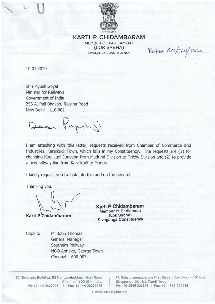 Sivaganga Lok Sabha MP Karti P Chidambaram Action Taken On 10.02.2020