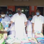 Mr Karti Chidambaram while distributing essential items to Keeramangalam Town Panchayat officials, sanitary workers and general public of Alangudi village.