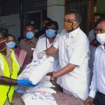 Mr. Karti Chidambaram along with Sivagangai District Collector while distributing essential items to the officials, sanitary workers, and the general public of Sivagangai Municipality on 11.05.2020.