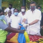 On behalf of RS Mangalam village congress committee of Ramanathapuram district, Mr. Karti Chidambaram distributed essential items to the officials and sanitation workers of RS Mangalam Town Panchayat on 13.5.2020