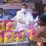 Mr Karti Chidambaram, on 31.05.2020, distributed essential relief items to general public of Ulagampatti village of Thirumayam block of Sivagangai constituency.