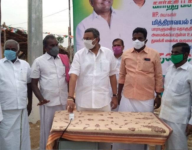 at Sivaganga 28.07.2020 donated HT LED light in Mitravayal Panchayat of Saakottai Panchayat Union of Sivagangai District
