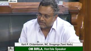 At Parliament 20-09-2020 Karti P Chidambaram, MP, on twin murders of two defence persons in sivaganga