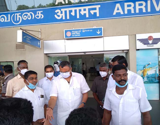 Meetings & Events – Sivaganga on his arrival at Madurai airport on 27.10.2020