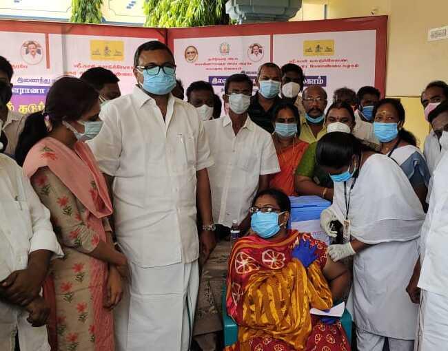 COVID vaccination camp conducted at Arima Higher Secondary School in Pon Amaravathi by Kasi Nattukottai Nagara Chatira  Melanmai Kazhagam