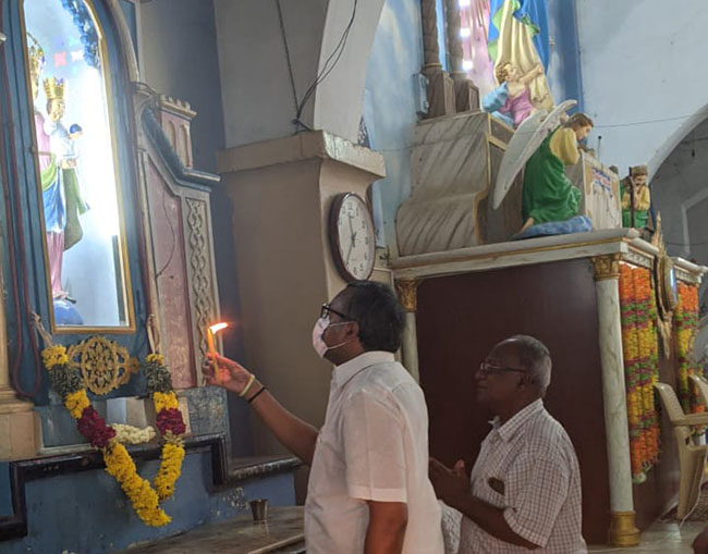 Mr Karti P Chidambaram, MP, Sivaganga, at the famous Periyanayagi Church at Puliyal on 26.03.2021