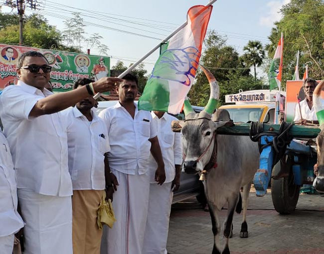Mr Karti P Chidambaram, MP, Sivaganga, on 19.02.2021, introduced and inaugurated bullock cart petition box system to go around Manamadurai and surrounding villages