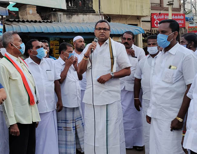 Mr Karti P Chidambaram, MP, Sivaganga, while campaigning for DMK MLA candidate from Manamadurai Assembly, Smt. Thamizharasi in Ilayangudi on 26.03.2021
