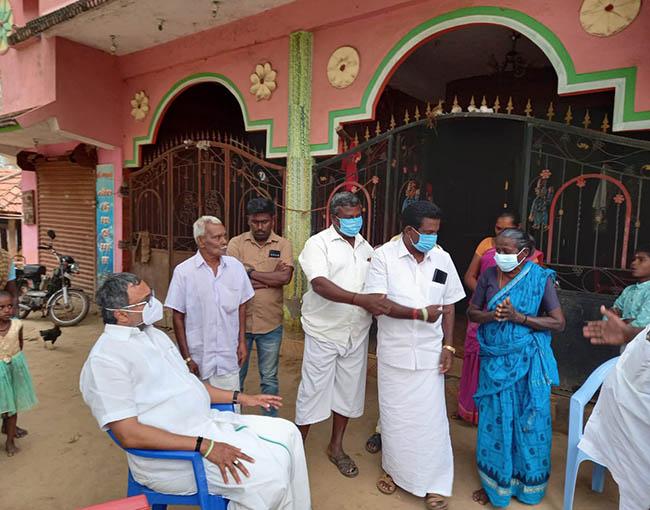 Mr Karti P Chidambaram, MP, Sivaganga, while offering condolences, on 18.02.2021, to the family of The Panchayat President of Sivagangai District, Melapoongodi village, Thiru Azhagar, who passed away recently.