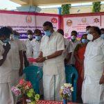 Mr Karti P Chidambaram, MP, Sivaganga, inaugurated the COVID vaccination camp conducted at Arima Higher Secondary School in Pon Amaravathi by Kasi Nattukottai Nagara Chatira Melanmai Kazhagam on 29.05.2021. Together with Mr Karti Chidambaram are Minister Mr Raghupathy, Pudukottai District Collector Mrs Uma Maheswari and the Kazhagam's President Mr Ramasamy.