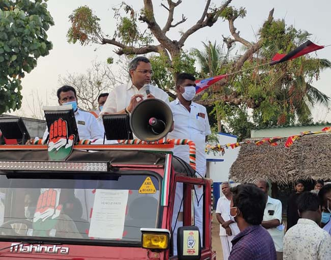 Mr Karti P Chidambaram, MP, Sivaganga, while campaigning for the Congress MLA Candidate from Karaikudi Assembly, Thiru Mangudi, at Theralapur in Kannangudi Union on 03.04.2021