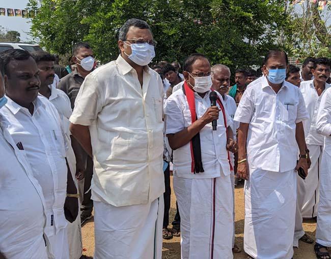 r Karti P Chidambaram, MP, Sivaganga, while campaigning for the Congress MLA Candidate from Thirumayam Assembly, Thiru S Raghupathi, in Soriyampatti region in Sivagangai on 01.04.2021