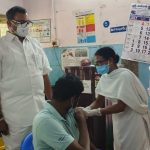 Mr Karti P Chidambaram, MP, Sivaganga, along with Karaikudi MLA, Mr Mangudi, visited the UPHC in Rayavaram village in Arimalam on 28.05.2021 and discussed with the doctors at the centre regarding the Covid treatment related activities and the vaccination drive being conducted at the centre and also distributed medical equipments and accessories to that centre
