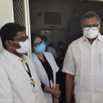 Mr Karti P Chidambaram, MP, Sivaganga, along with Karaikudi MLA, Mr Mangudi, visited the UPHC in Virachillai village in Thirumayam on 28.05.2021 and discussed with the doctors at the centre regarding the Covid treatment related activities and the vaccination drive being conducted at the centre and also distributed medical equipments and accessories to that centre.