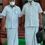 Mr Karti P Chidambaram, MP, Sivaganga, met with Mr G K Vasan, Leader of Tamil Manila Congress, at the Parliament premises on 29.07.2021 1